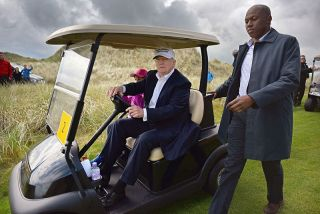 Donald Trump at his golf course in Aberdeen, Scotland in June 2016.