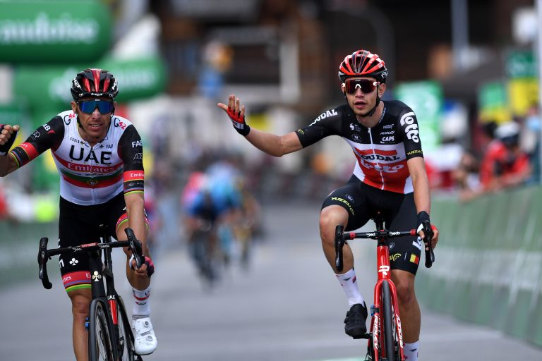 Andreas Kron protests Rui Costa sprint on stage six of Tour de Suisse 2021