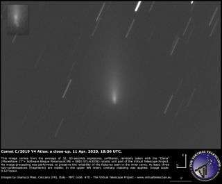 The Virtual Telescope Project captured this view of Comet Atlas' shattered nucleus on April 11, 2020.