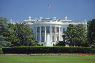 The White House with tulips blooming.