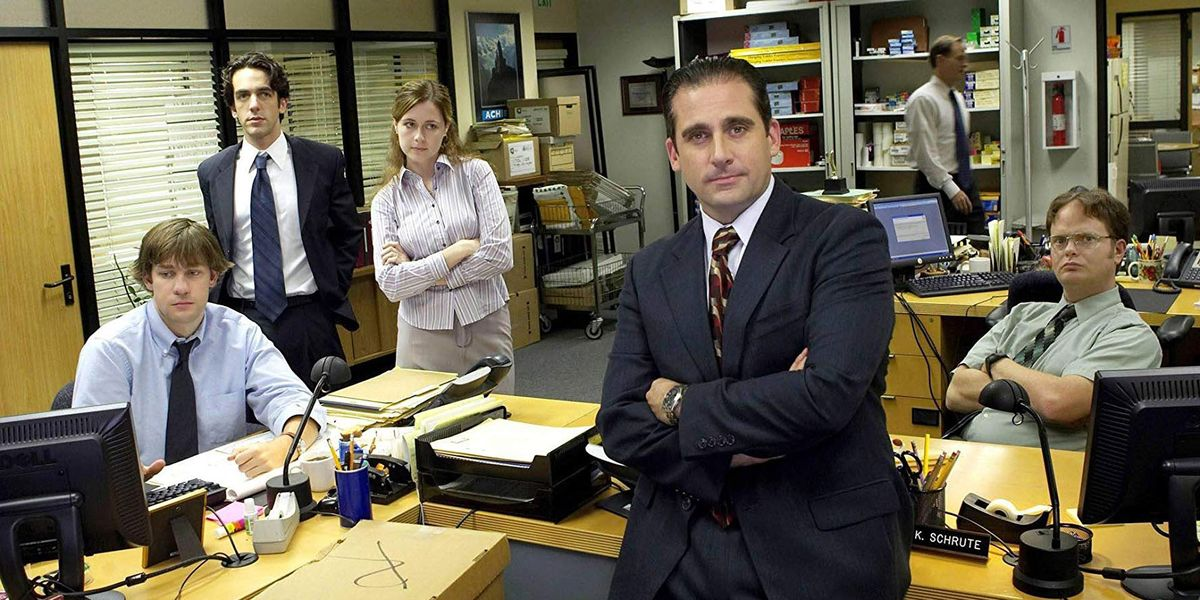 The cast of The Office in Dundler Mifflin.