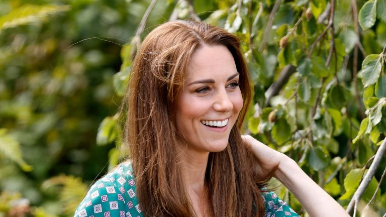 LONDON, UNITED KINGDOM - JULY 01: (EMBARGOED FOR PUBLICATION IN UK NEWSPAPERS UNTIL 24 HOURS AFTER CREATE DATE AND TIME) Catherine, Duchess of Cambridge visits the RHS Hampton Court Palace Garden Festival to view the RHS 'Back to Nature Garden' which she co-designed at Hampton Court Palace on July 1, 2019 in London, England. (Photo by Max Mumby/Indigo/Getty Images)