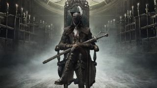 Bloodbourne person clad in black sitting on throne