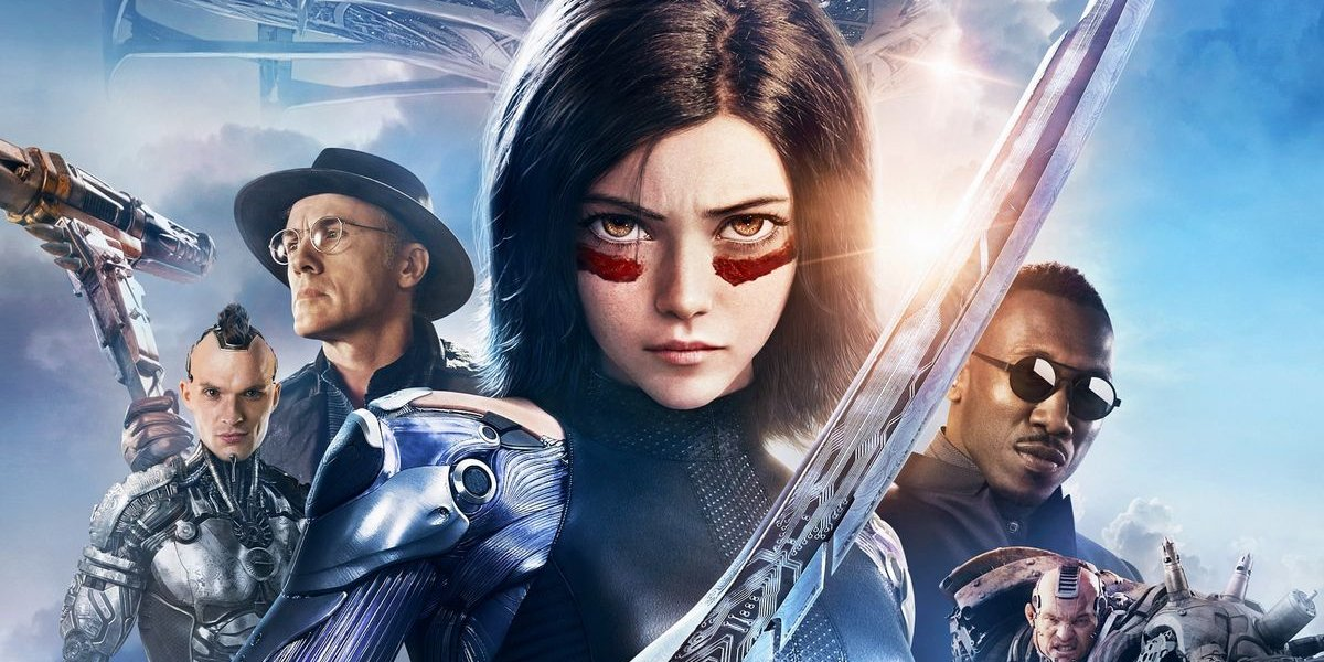Alita: Battle Angel cast lined up in front of Zalem