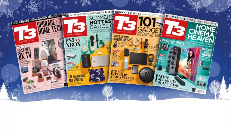 Four recent T3 magazine covers on a Christmas background.
