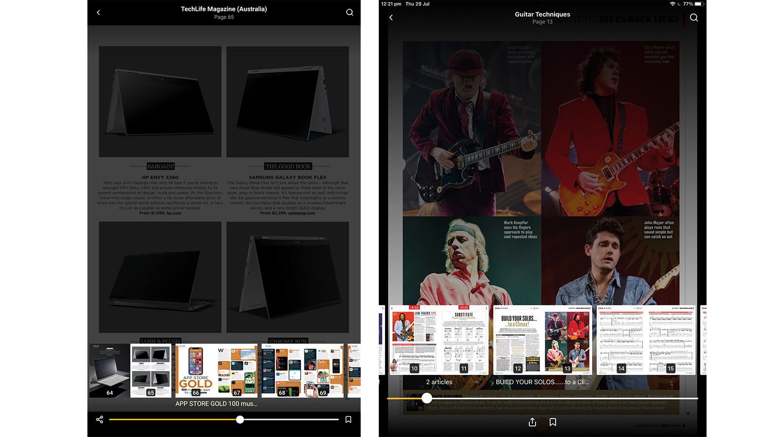 Readly page thumbnails on tablets