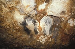 Hand prints in Cosquer Cave in France.