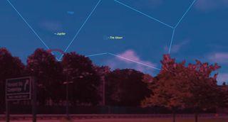 september 2017 skywatching, jupiter, young moon