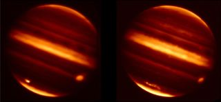 These images made by NASA's Infrared Telescope Facility in Mauna Kea, Hawaii, show particle debris in Jupiter's atmosphere (bright smudges at lower left) after an object hurtled into the atmosphere on July 19, 2009. The image at left was captured July 20,