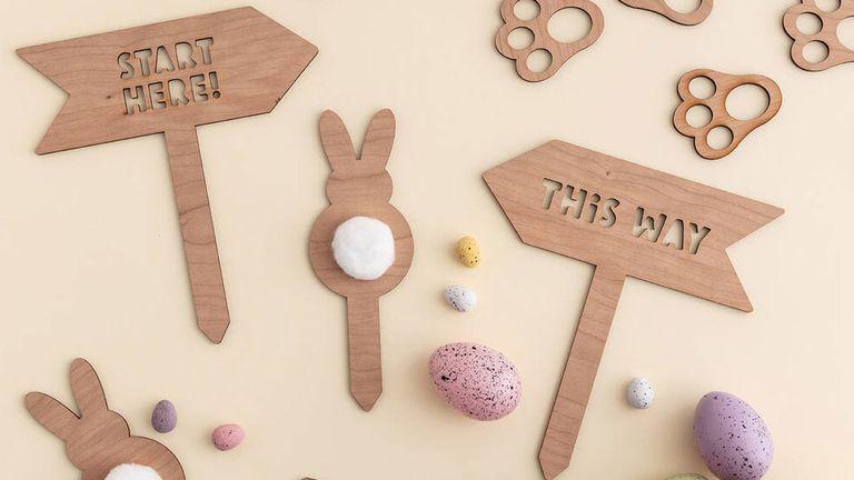 Easter egg hunt decor: Postbox Party Wooden Easter Egg Hunt
