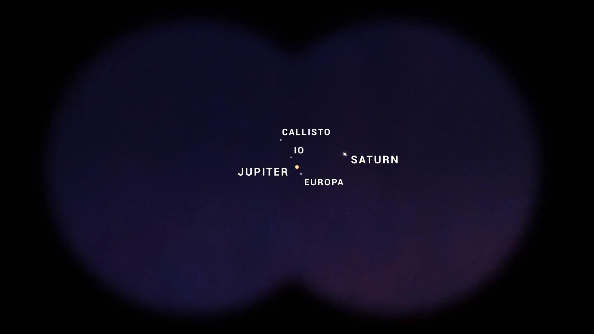 In this close-up illustration, Jupiter and Saturn appear quite cozy when seen with binoculars.
