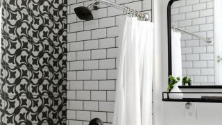 Black and white shower with curtain