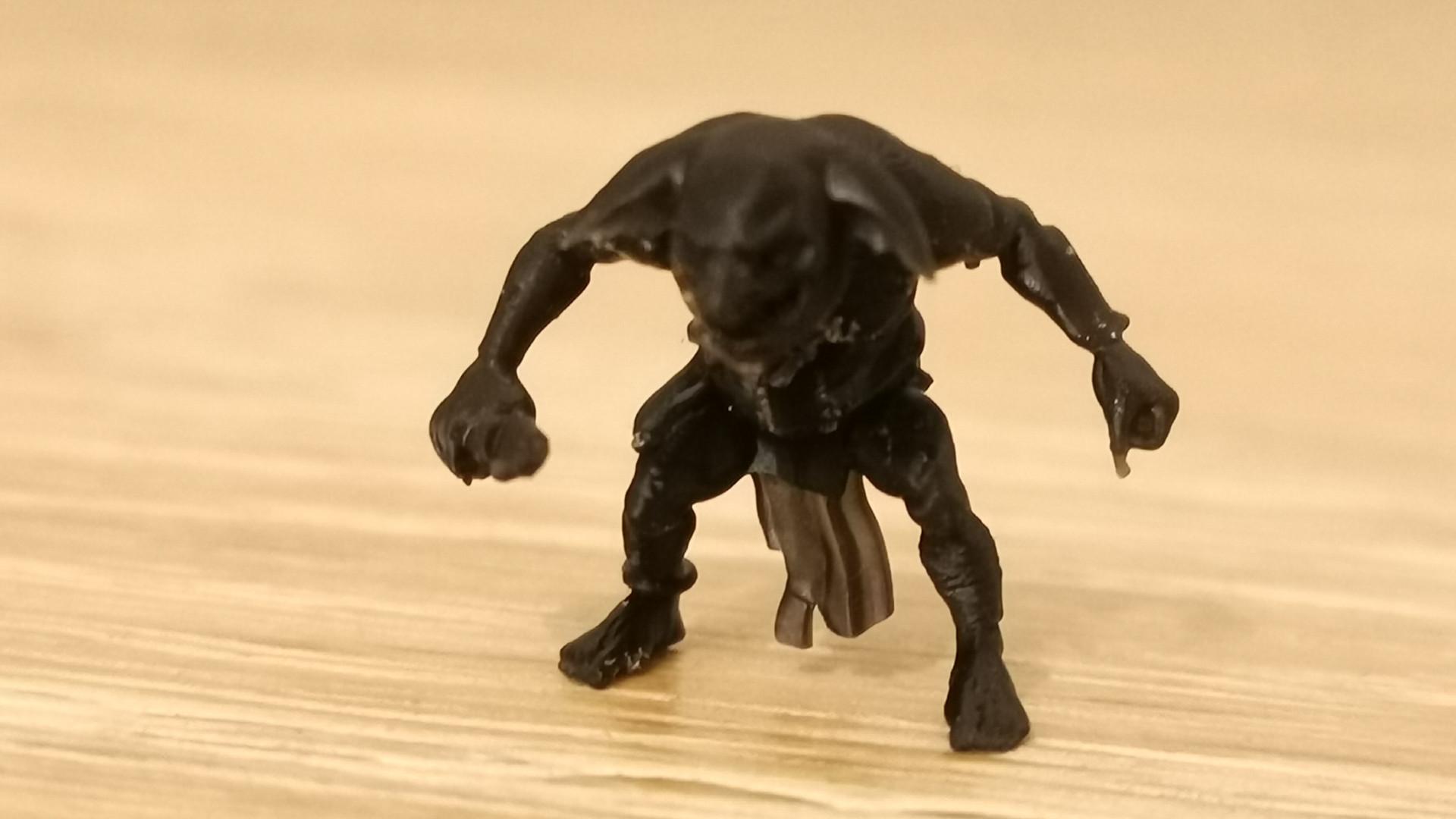 A tiny printed goblin figurine from the Elegoo Saturn