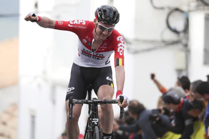 Tim Wellens (Lotto Soudal) celebrates his win on the uphill finish