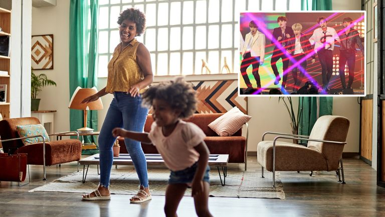Woman and child dancing in their living room, with an inset of the South Korean boyband BTS