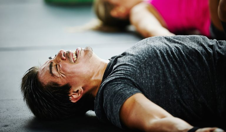 Man experiencing exercise pain relief