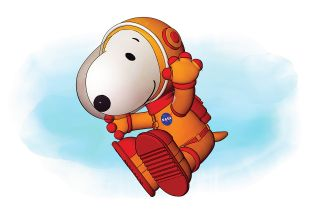 Artist rendering of Peanuts Worldwide's 2019 Macy's Thanksgiving Day Parade balloon, featuring Astronaut Snoopy.
