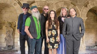Steeleye Span, L-R: Rick Kemp, Liam Genockey, Andrew 'Spud' Sinclair, Jessie May Smart, Maddy Prior, Julian Littman