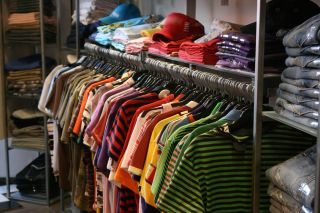 Colorful clothing in store
