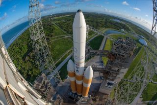 A United Launch Alliance Delta IV Heavy rocket carrying the NROL-44 spy satellites stands atop Pad 37 of the Cape Canaveral Air Force Station, Florida ahead of a planned launch on Sept. 27, 2020.