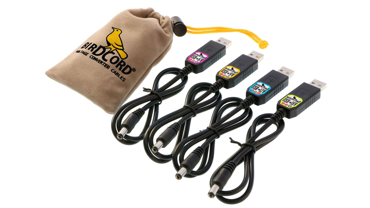 Power your pedalboard via USB with Birdcord voltage converter cables