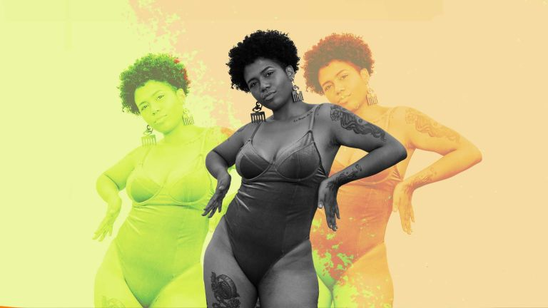 A collage of a woman in a swimsuit with repetition in different colorways to depict a sunscreen or moisturizer first story