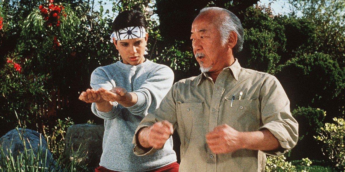 Ralph Macchio as Daniel LaRusso and Pat Morita as Mr. Miyagi in The Karate Kid Part III (1989)