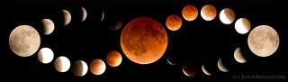 Photographer John Ashley created this striking mosaic of the blood moon phases of the total lunar eclipse on April 15, 2014 from Kila in northwestern Montana.