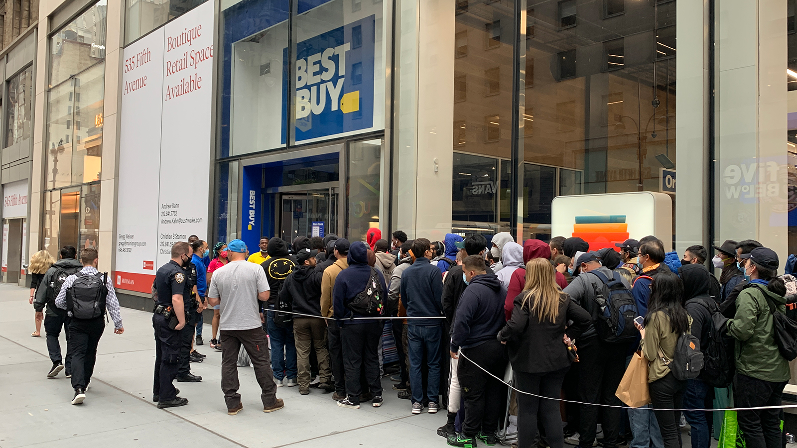 Customers wait in line outside a New York City Best Buy for a chance to buy an RTX 3080 Ti
