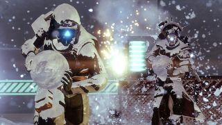 Guardians have a snowball fight in Destiny 2's The Dawning seasonal event.