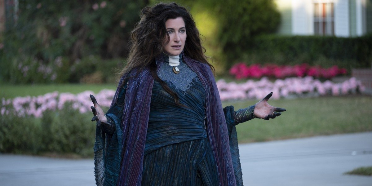 Agatha Harkness (Kathryn Hahn) stands ready for battle in WandaVision (2021)