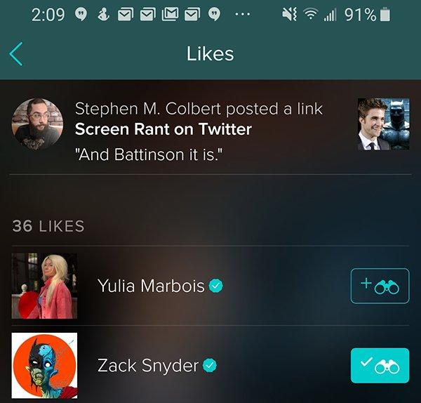 Zack Snyder likes Battinson on Vero