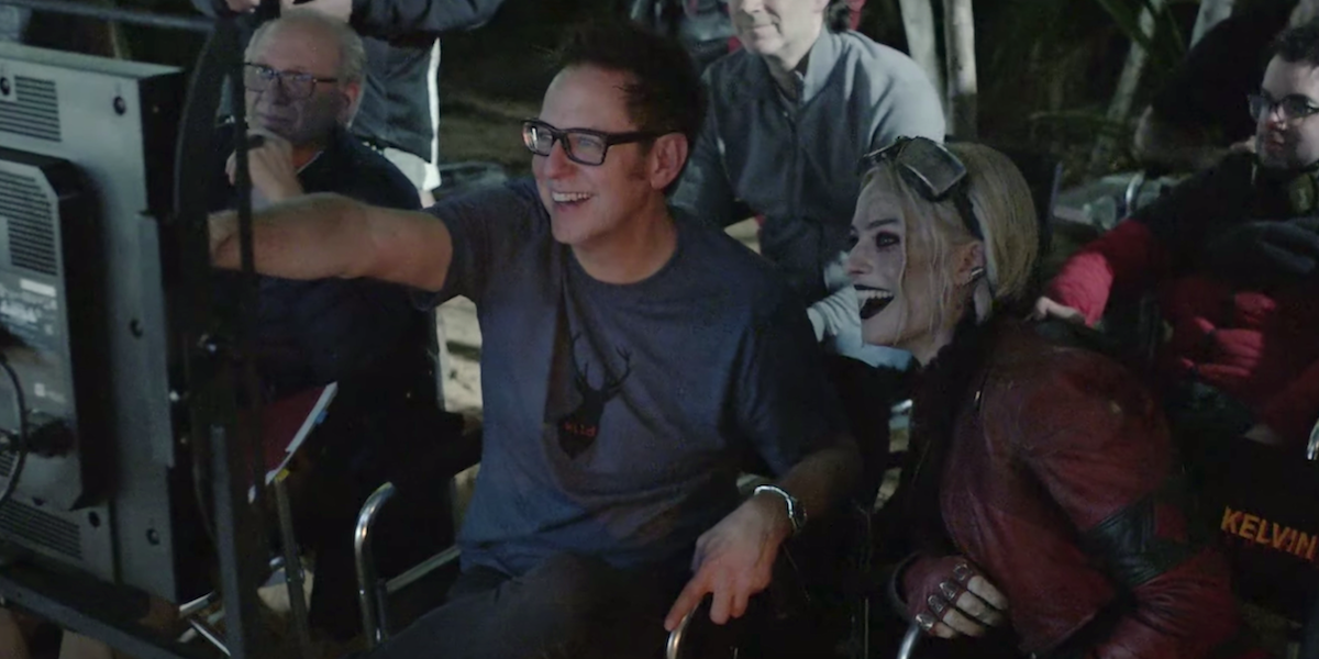 James Gunn with Margot Robbie's Harley Quinn for The Suicide Squad