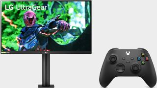 LG UltraGear 27-inch gaming monitor next to a Microsoft Xbox wireless controller on a gray background