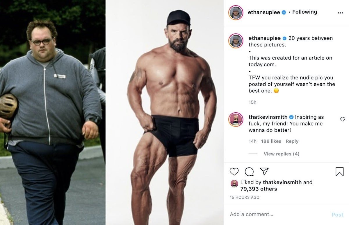 Ethan Suplee weight loss journey instagram post with Kevin Smith comment
