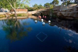 "The surface of the ""Blue Hole"" in Santa Rosa, N.M. The balloons hold up underwater scuba stations used to train divers."