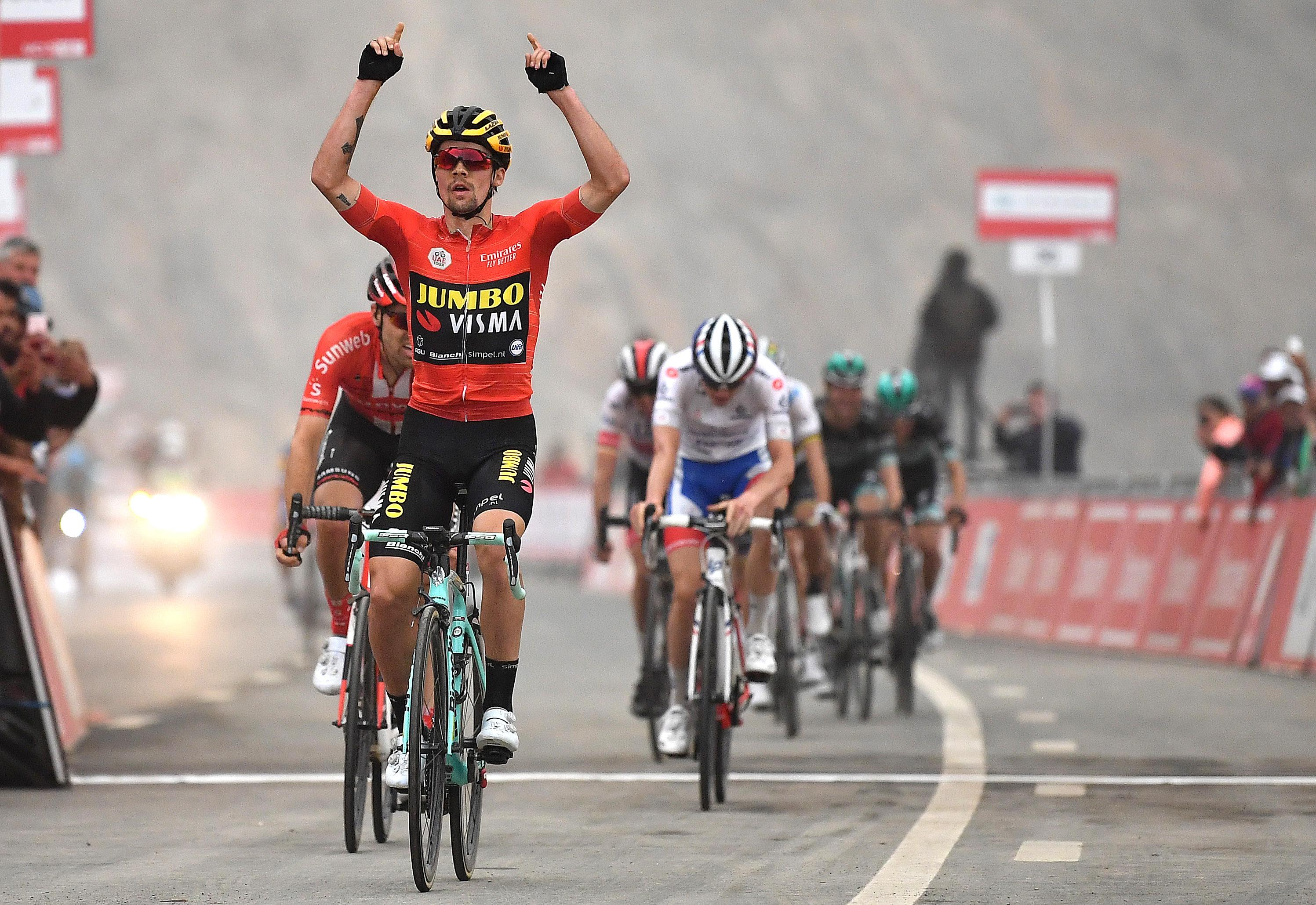 Primoz Roglic wins at Jebel Jais in 2019.