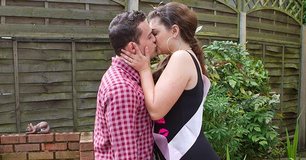 Celine McQueen kisses Jesse Donovan in Hollyoaks.