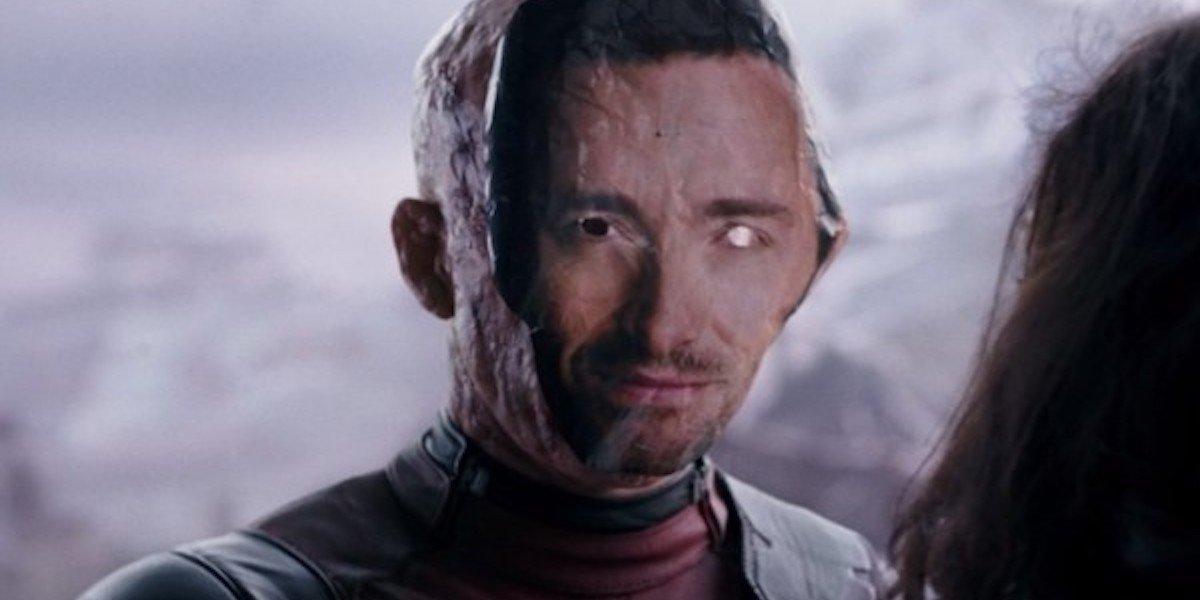 Ryan Reynolds as Deadpool with Hugh Jackman mask