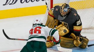 Vegas Golden Knights goalie Marc-Andre Fleury blocks a shot by Mats Zuccarello of the Minnesota Wild in overtime of game one of the first round of the 2021 Stanley Cup Playoffs at T-Mobile Arena on May 16, 2021 in Las Vegas, Nevada.