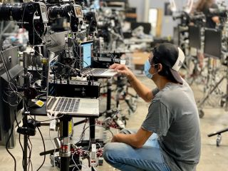 Technician Sergeo Santana tests the camera and computer systems nominees for the 2020 Emmys will receive.