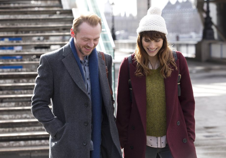 Simon Pegg and Lake Bell laugh together on the South Bank