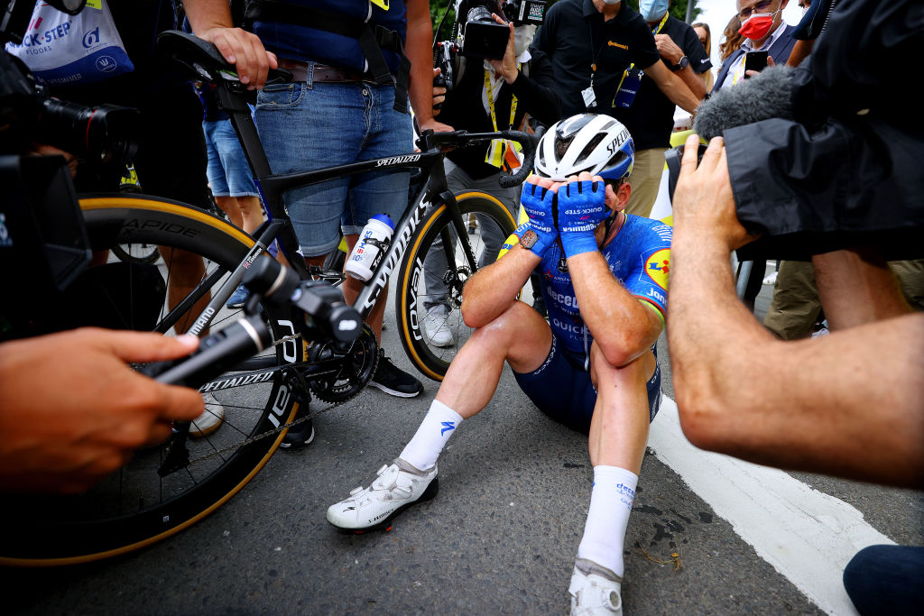 FOUGERES FRANCE JUNE 29 Mark Cavendish of The United Kingdom and Team Deceuninck QuickStep stage winner celebrates at arrival during the 108th Tour de France 2021 Stage 4 a 1504km stage from Redon to Fougres LeTour TDF2021 on June 29 2021 in Fougeres France Photo by Tim de WaeleGetty Images
