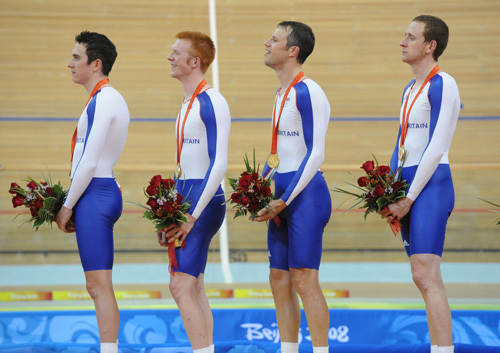 Great Britain team pursuit national anthem Olympics 2008