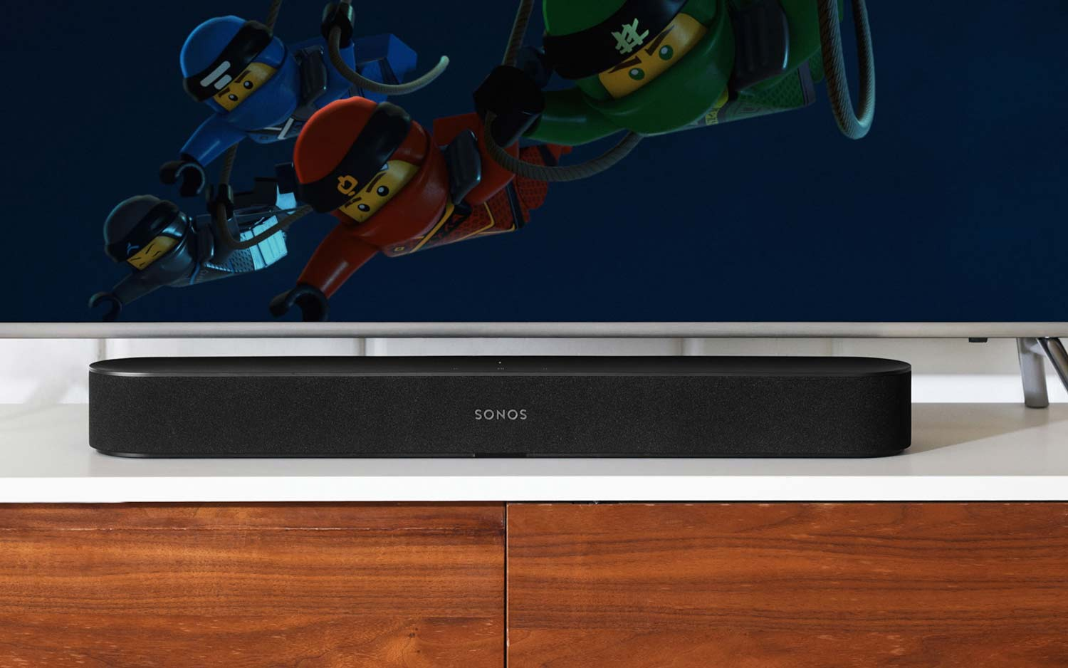 Sonos Beam in front of television screen