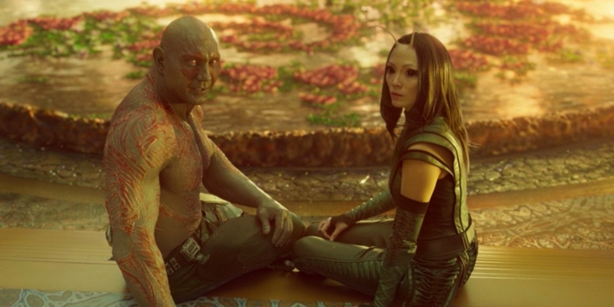 Drax and Mantis in Guardians 2