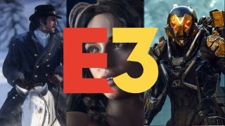A photo illustration of potential E3 2018 games: Red Dead Redemption 2, Cyberpunk 2077, and Anthem.