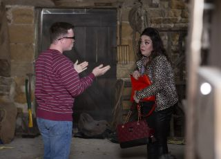 Mandy Dingle and Vinny are up to no good in Emmerdale