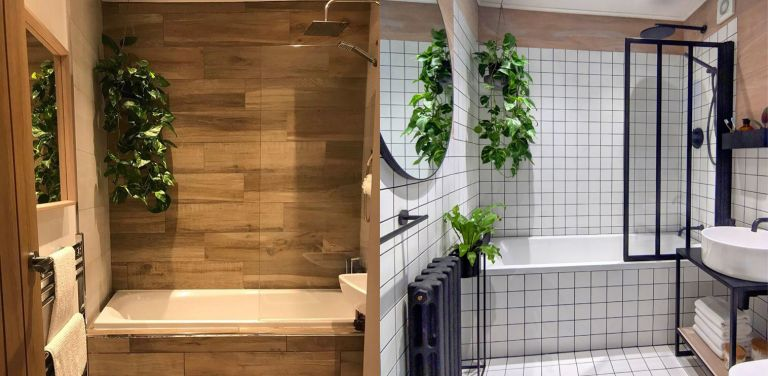 DIY bathroom before and after with white tiling and Crittal-style windows