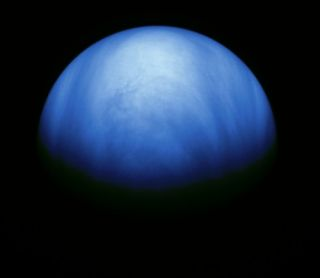 This colorized image of Venus was recorded by the Jupiter-bound Galileo spacecraft shortly after its gravity assist flyby of Venus in February of 1990.